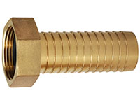 2 x 2 Inch (in) Size Brass Female NPSH Threads Long Shank Hose Nipple Fitting