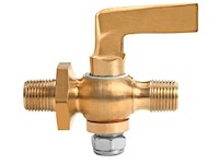 1/8 Inch (in) Size Polished Brass 41 Series Lever Handle Double Male Cock Valve
