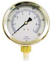 "Hydraulic Gauges Liquid Filled - 4"" Face x 1/4"" Liquid Filled Stainless Case Brass Internals Lower Mount"