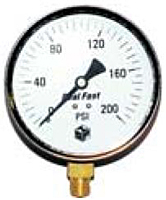 "Hydraulic Gauges Liquid Filled - 4"" Face x 1/4"" Steel Case - Brass Internals (Dry) Lower Mount"