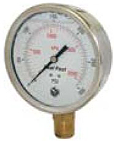 "Hydraulic Gauges Liquid Filled - 4"" Face x 1/2"" Liquid Filled Stainless Case Brass Internals Lower Mount"