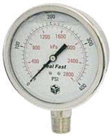 "Hydraulic Gauges - 4"" Face x 1/2"" All Stainless Liquid Filled Lower Mount"