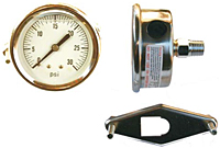 "Hydraulic Gauges Liquid Filled - 4"" Face x 1/4"" Liquid Filled Stainless Case Brass Internals U-Clamp Back Mount"