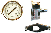 "Hydraulic Gauges Liquid Filled - 4"" Face x 1/4"" All Stainless Liquid Filled U-Clamp Back Mount"