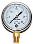 "Hydraulic Gauges Liquid Filled - 2 1/2"" Face x 1/4"" Liquid Filled Stainless Case Brass Internals Lower Mount"