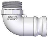 2 Inch (in) Size Aluminum Type F Male Adapter x Male NPT 90 Degree Elbow Cam and Groove Coupling
