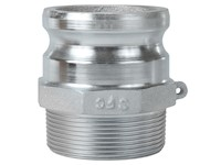 3 Inch (in) Size Plated Iron Type F Male Adapter x Male NPT Cam and Groove Coupling