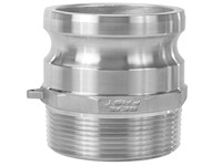 3 Inch (in) Size 316 Stainless Steel Type F Male Adapter x Male NPT Cam and Groove Coupling
