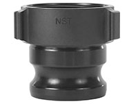 2 1/2 x 2 1/2 Inch (in) Size Hard Coat Aluminum Type HA Hydro Adapter Cam and Groove Coupling with NST Fire Threads