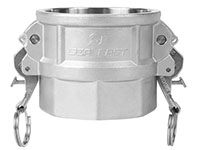3 Inch (in) Size 316 Stainless Steel Type D Female Coupler x Female NPT Self-Locking Cam and Groove Coupling