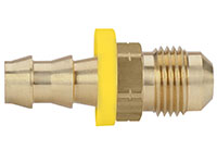 1/2 Inch (in) Hose Inner Diameter and 1/2 Inch (in) Pipe Thread size Brass Hose x 45 Degree SAE Male Grip-On Fitting