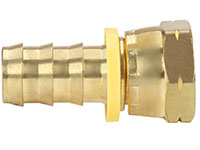 3/8 Inch (in) Hose Inner Diameter and 3/8 Inch (in) Pipe Thread size Brass Hose x Female 45 Degree Flare Grip-On Fitting