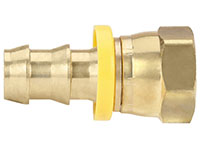 1/2 Inch (in) Hose Inner Diameter and 1/2 Inch (in) Pipe Thread size Brass Hose x JIC Female 37 Degree Swivel Grip-On Fitting