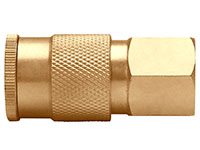 1.97 Inch (in) Length Brass Semi-Auto Industrial Interchange 1/4 Inch (in) Body Quick Connect Socket