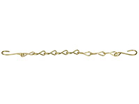 "12 Inch (in) Size Brass Security Chain with ""S"" Hooks"
