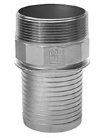 3 Inch (in) Size 316 Stainless Steel Hose Barb Nipple with Notched Collar