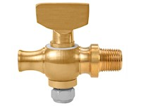 1/8 Inch (in) Size Polished Brass 41 Series Tee Handle Round Shoulder Cock Valve