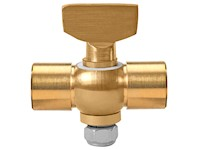 Polished Brass 41 Series Tee Handle Heavy Pattern Double Female Cock Valves