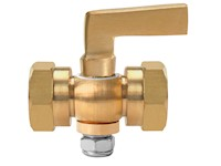 1/8 Inch (in) Size Polished Brass 41 Series Lever Handle Hexagon Shoulder Double Female Cock Valve