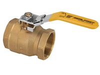2 Inch (in) Size Brass Full Bore 2 Piece Ball Valve with Locking Handle
