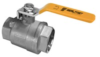 1/4 Inch (in) Size 316 Stainless Steel Full Bore 2 Piece 2000 WOG/CWP PTFE Seat Locking Handle Ball Valve