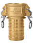 3 Inch (in) Size Brass Type C Female Coupler x Hose Shank Self-Locking Cam and Groove Coupling