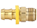 1/2 Inch (in) Hose Inner Diameter and 1/2 Inch (in) Pipe Thread size Brass Hose x Inverted Flare Male Swivel Grip-On Fitting