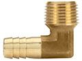 1/2 Inch (in) Hose I.D. Brass Male NPT X Hose Barb 90 Degree Elbow